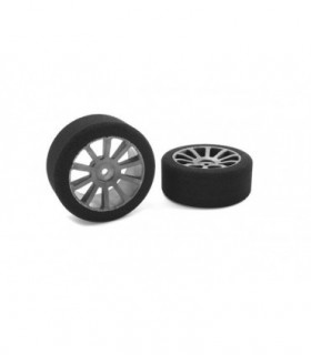 TEAM CORALLY - ATTACK FOAM TIRES - 1/10 GP TOURING - 37 SHORE - 26MM FRONT - CARBON RIMS - 2 PCS